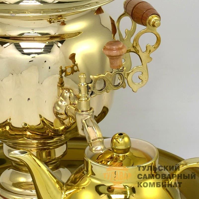 Набор Овал 3 л. электрический, латунь, поднос, чайник, ТСК - фото 9267