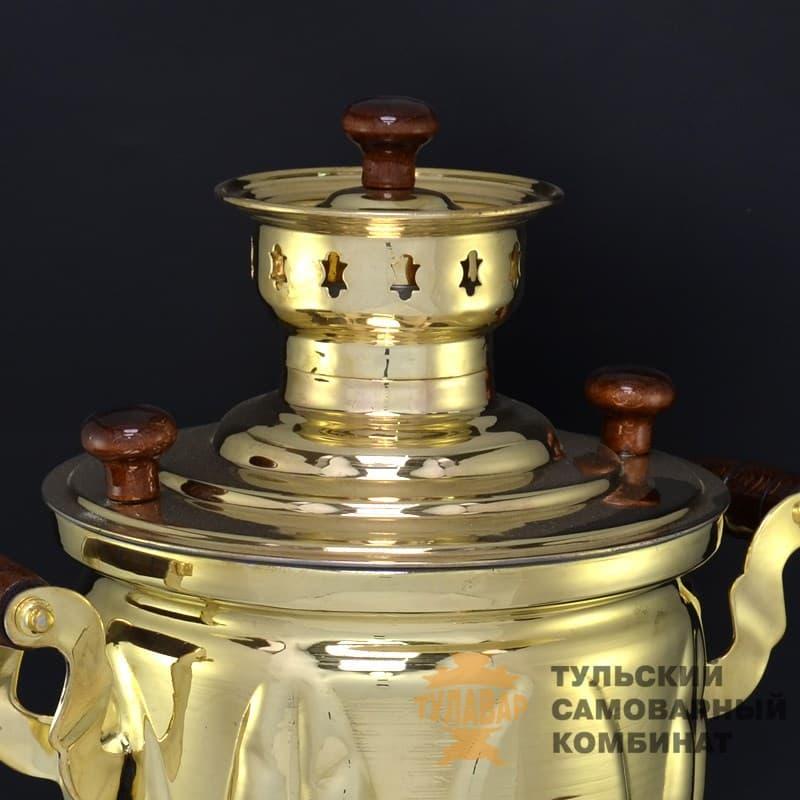 Самовар Дубрава Эксклюзив жаровой 5 литров, банка, латунь, ТСК - фото 9279