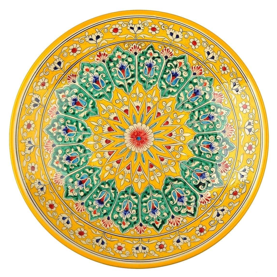 Ляган Риштанская Керамика 38 см. плоский, жёлтый - фото 9377