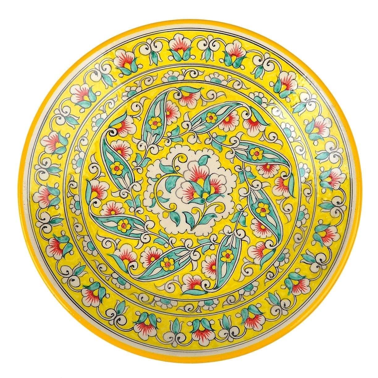 Ляган Риштанская Керамика 38 см. плоский, жёлтый - фото 9378