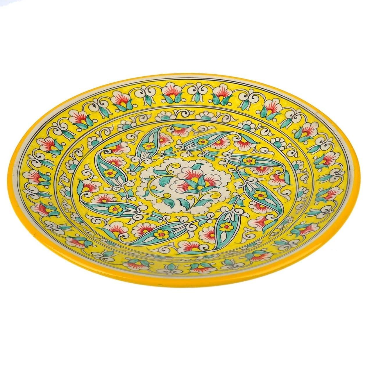 Ляган Риштанская Керамика 38 см. плоский, жёлтый - фото 9379