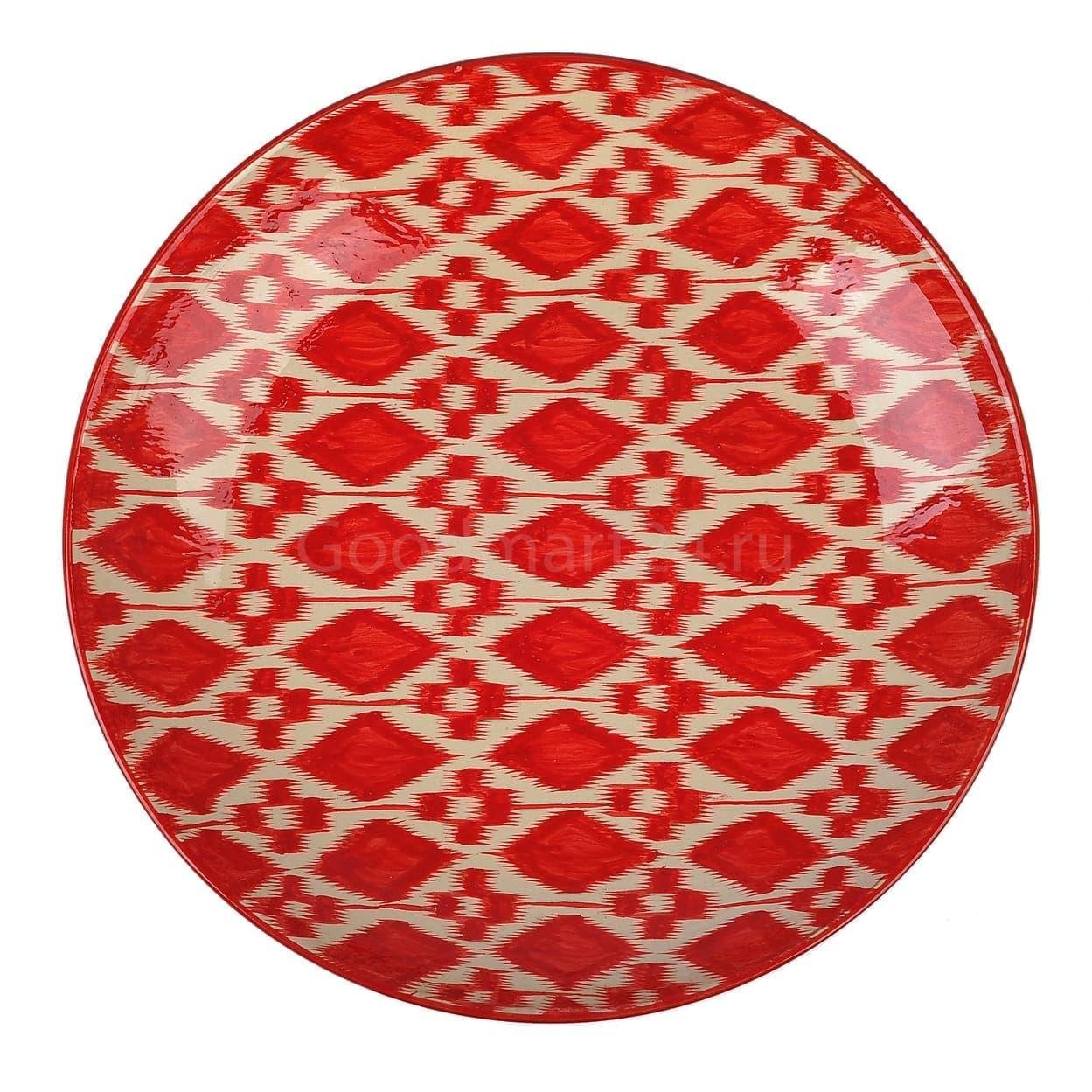 Ляган Риштанская Керамика 38 см. плоский, Красный Атлас - фото 9383