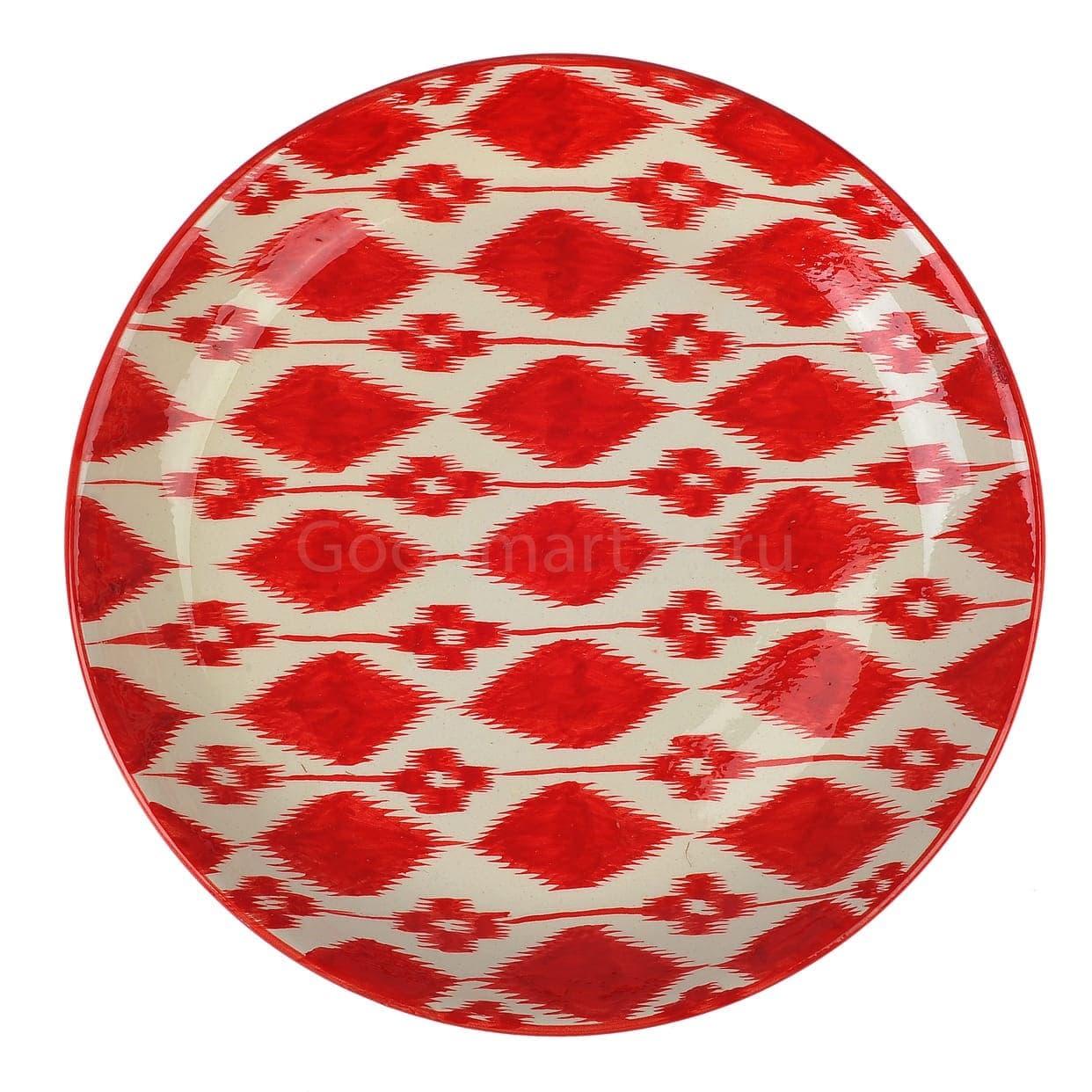 Ляган Риштанская Керамика 38 см. плоский, Красный Атлас - фото 9384