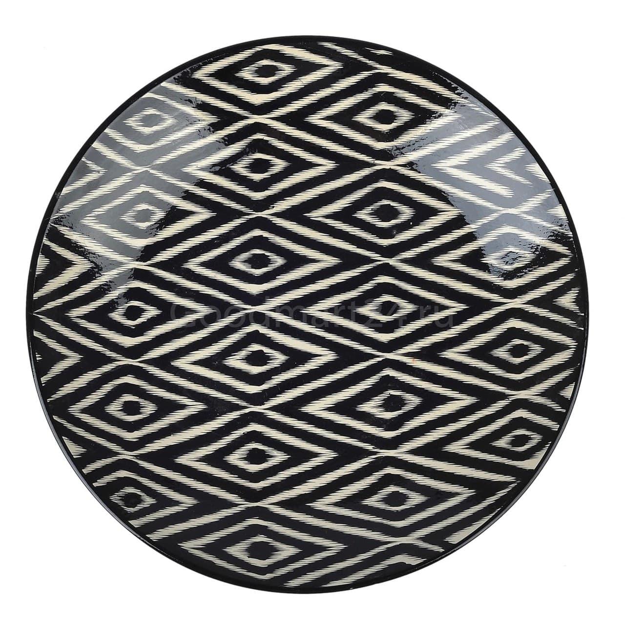Ляган Риштанская Керамика 42 см. плоский, Чёрный Атлас - фото 9389