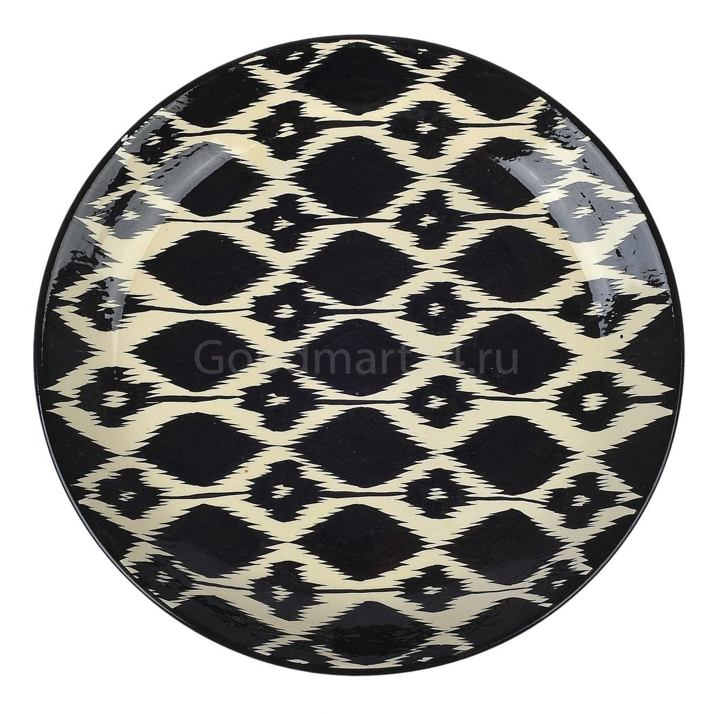 Ляган Риштанская Керамика 42 см. плоский, Чёрный Атлас - фото 9390
