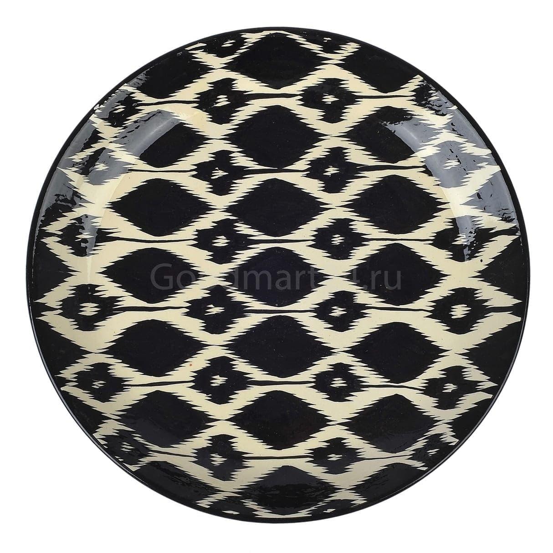 Ляган Риштанская Керамика 38 см. плоский, Чёрный Атлас - фото 9391