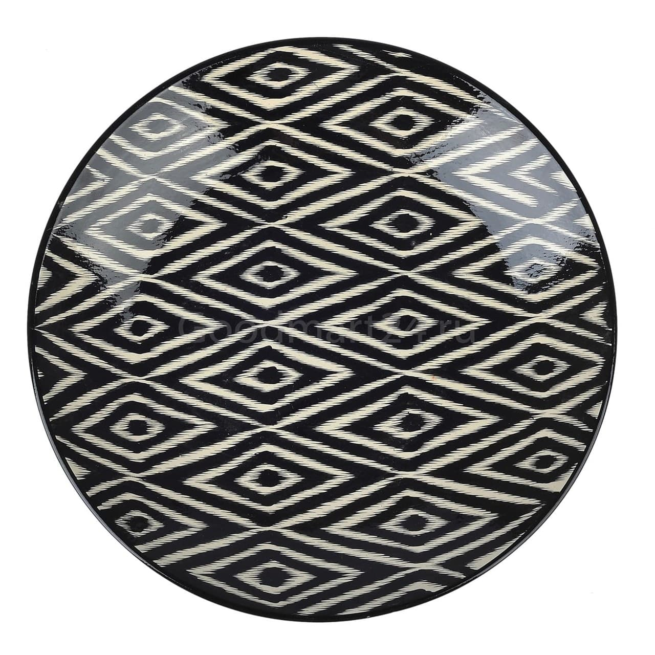 Ляган Риштанская Керамика 38 см. плоский, Чёрный Атлас - фото 9392