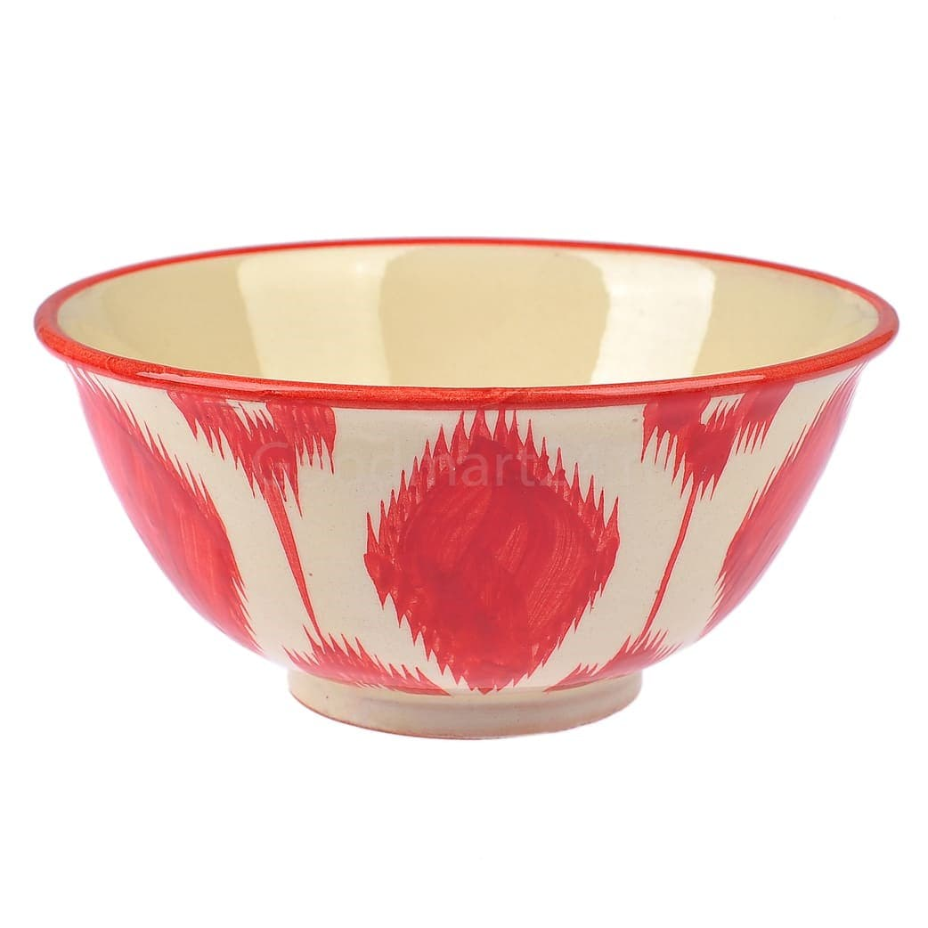 Пиала Риштанская Керамика большая d-11 см. h-5,5 см. Красный Атлас - фото 9401