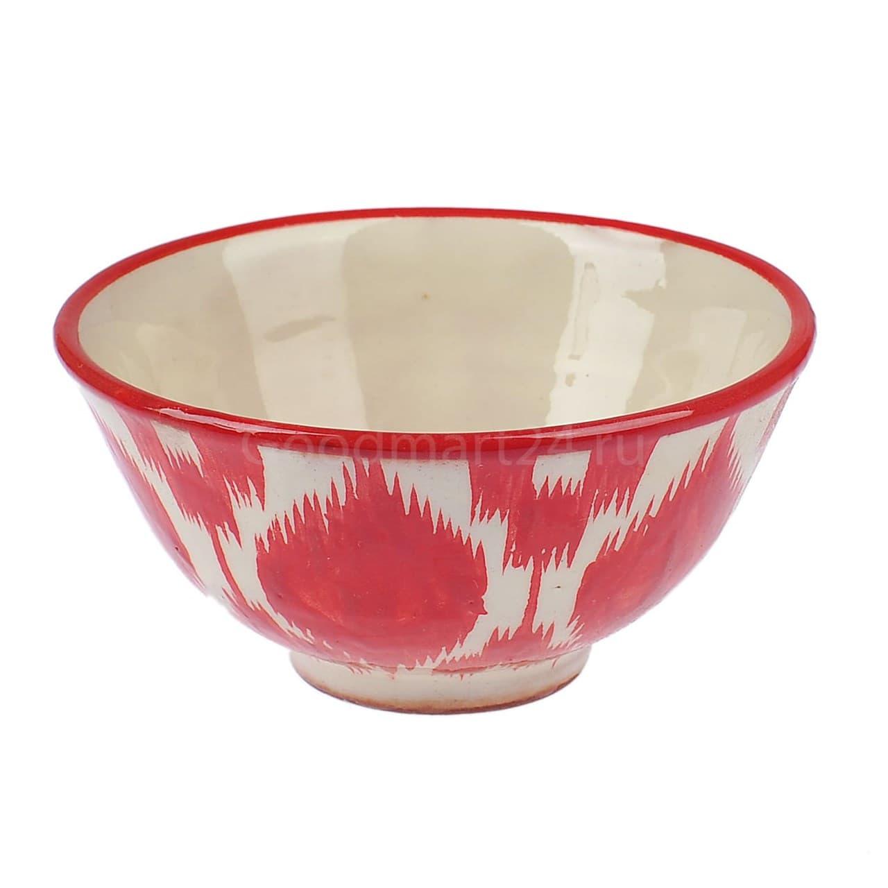 Пиала Риштанская Керамика большая d-11 см. h-5,5 см. Красный Атлас - фото 9402