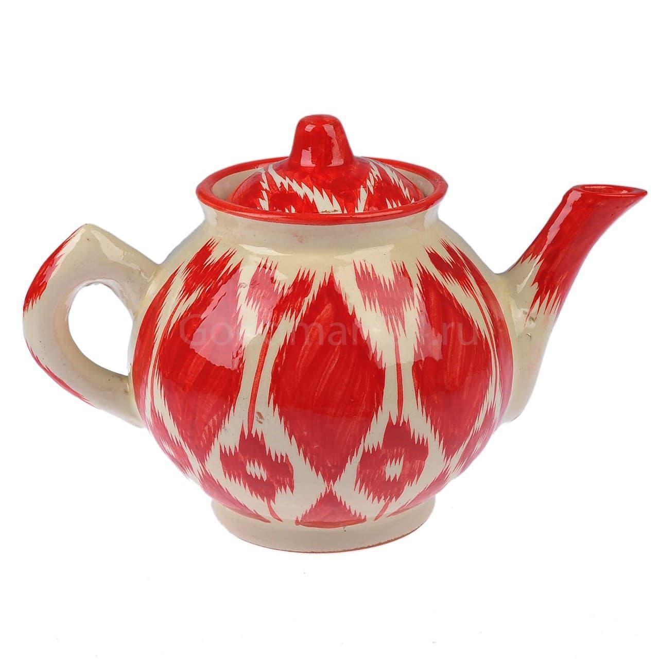 Чайник Риштанская Керамика 1 литр Красный Атлас - фото 9406