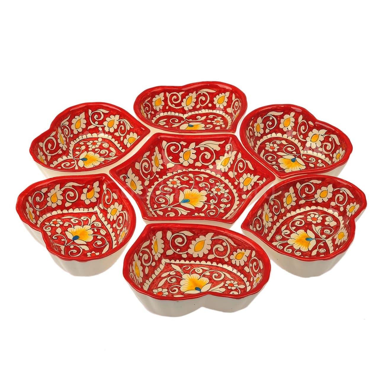 Салатница набор из 7 блюд, 40 см. красная - фото 9414