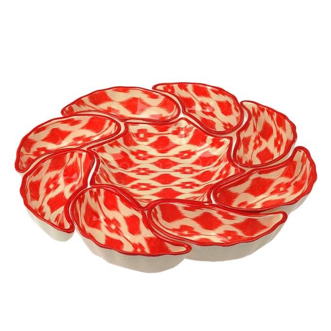 Салатница набор из 9 блюд 42 см. Красный Атлас - фото 9434