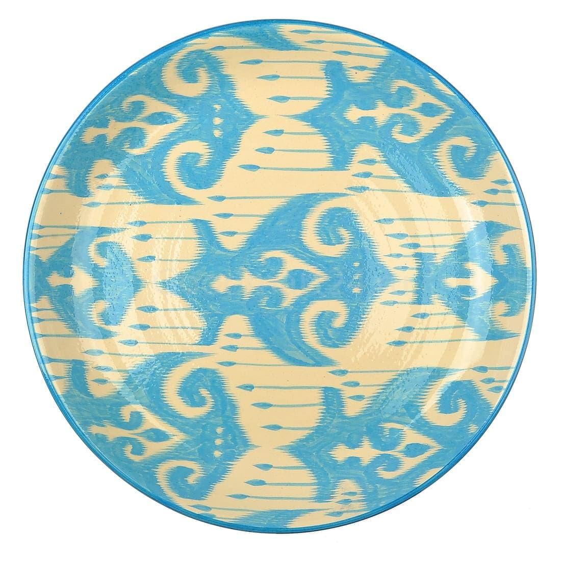 Ляган Риштанская Керамика 38 см. плоский, Синий Атлас рис. 2 - фото 9442