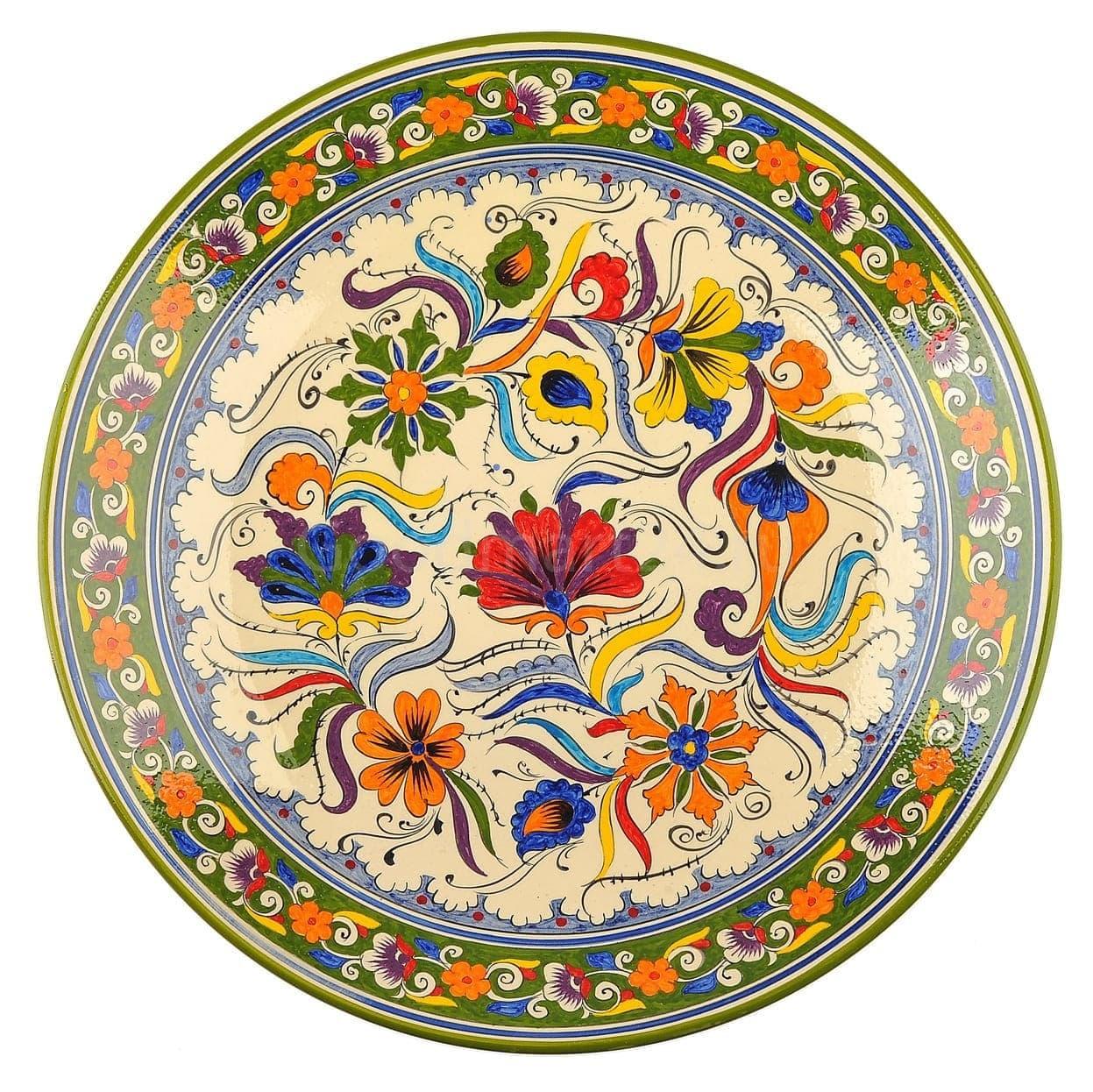Ляган Риштанская Керамика 38 см. плоский, Турецкий - фото 9452