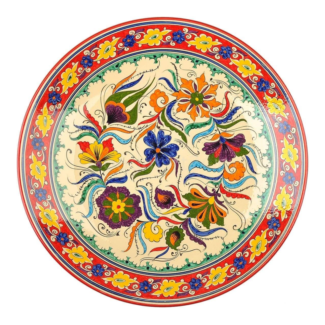 Ляган Риштанская Керамика 38 см. плоский, Турецкий - фото 9453
