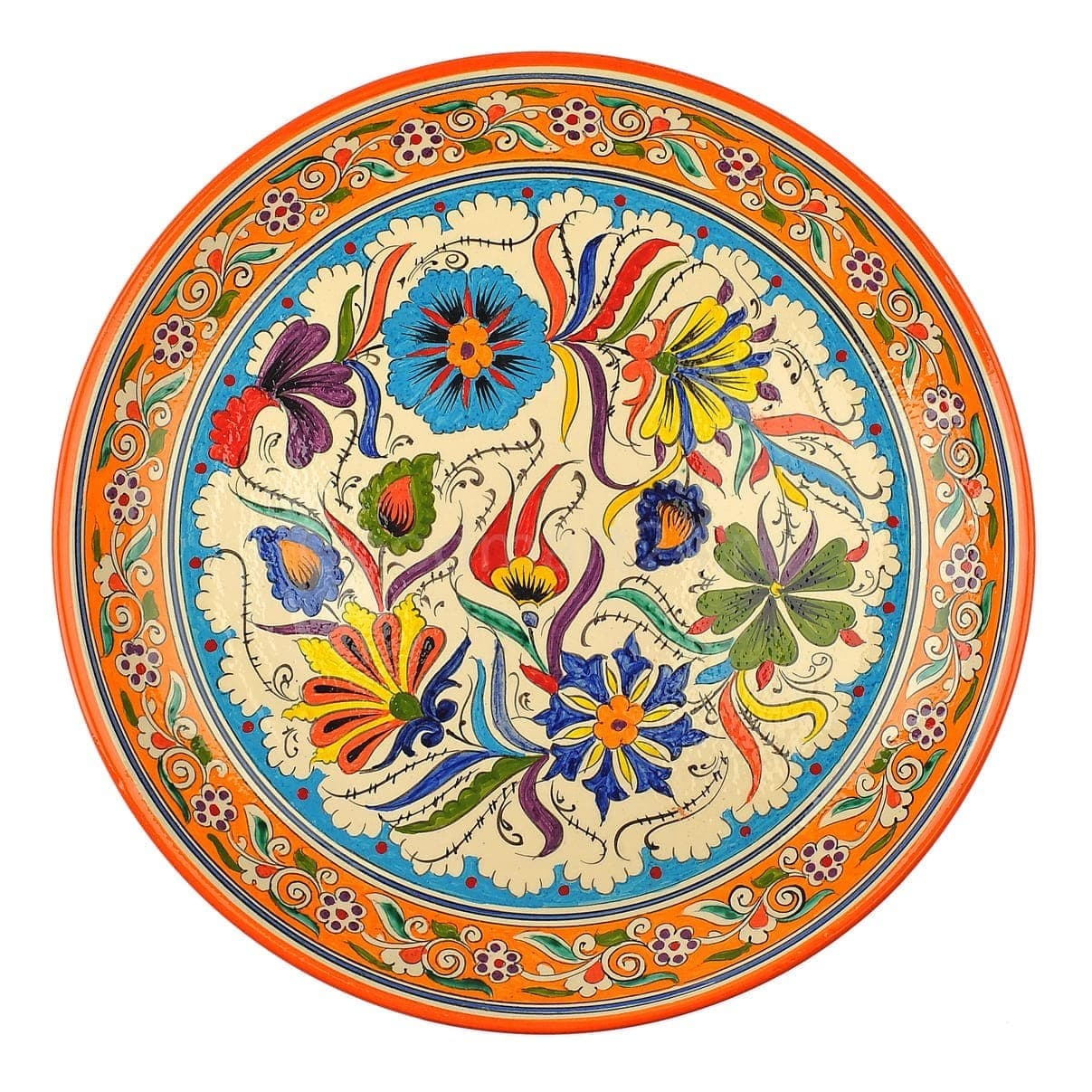 Ляган Риштанская Керамика 38 см. плоский, Турецкий - фото 9454