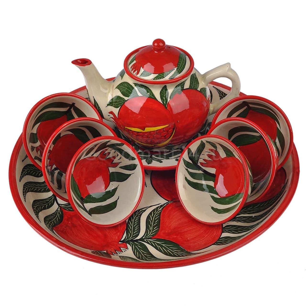 Набор чайный Риштанская Керамика, 9 предметов, Гранат - фото 9484