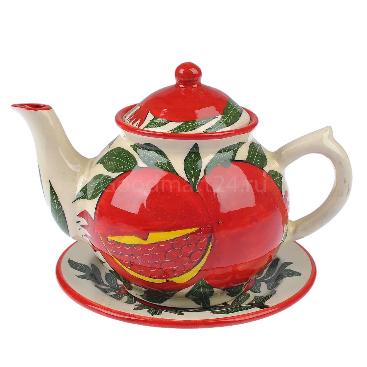 Набор чайный Риштанская Керамика, 9 предметов, Гранат - фото 9487