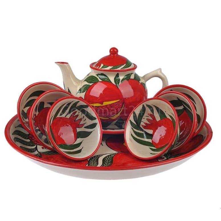Набор чайный Риштанская Керамика, 9 предметов, Гранат - фото 9491
