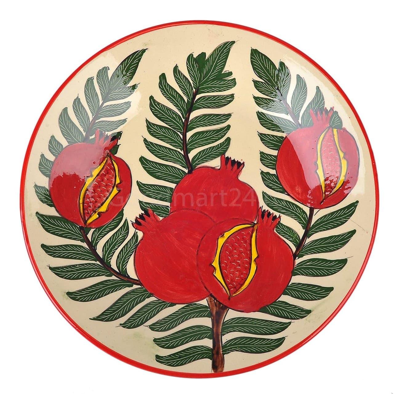 Тарелка плоская Риштанская Керамика 27 см. гранат - фото 9541