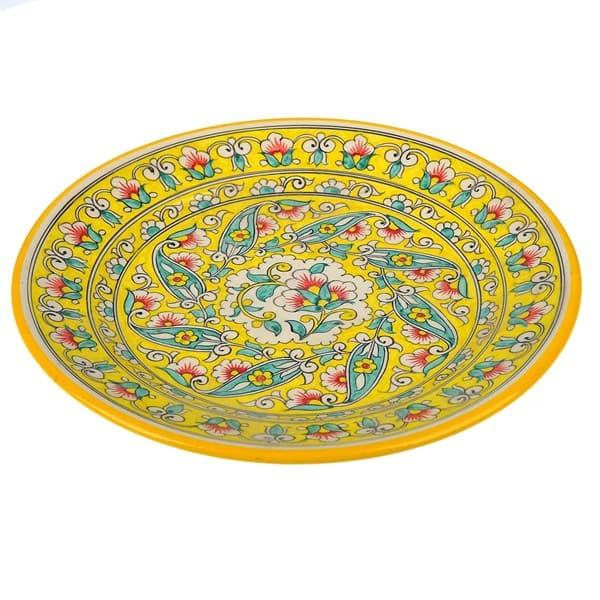 Купить тарелку плоскую Риштанская Керамика 22 см. желтая