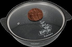 Алюминиевый казан 3,5 л. Kukmara, АП Granit Ultra, кго37а, плоское дно, стекл. крышка