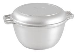 Алюминиевый казан 4 л. Kukmara, без покрытия, к44, плоское дно, крышка сковорода