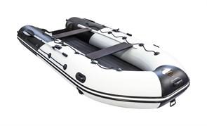 """ПВХ Лодка Ривьера 4000 НДНД Гидролыжа """"Комби"""" Светло-серый/черный для рыбалки"""