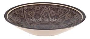 Тарелка плоская Риштанская Керамика 22 см. коричневая