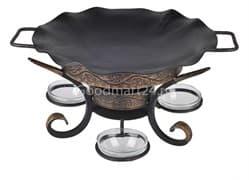 Садж сковорода 35 см, сталь + подставка кованная Шелковый путь премиум