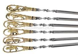 Подарочный набор шампуров Охотничьи трофеи, ручка литье латунь, 6 штук
